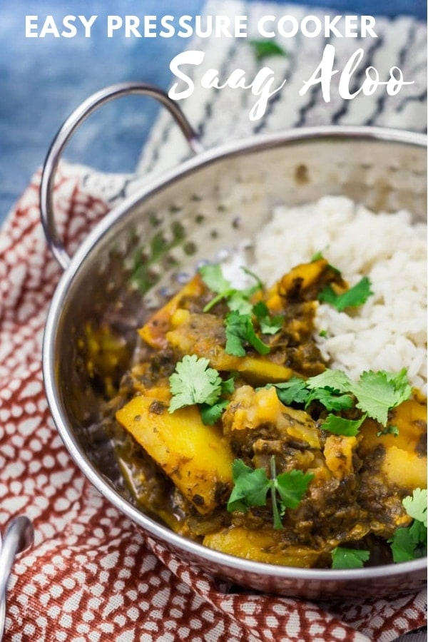 Pinterest image for pressure cooker saag aloo with text overlay