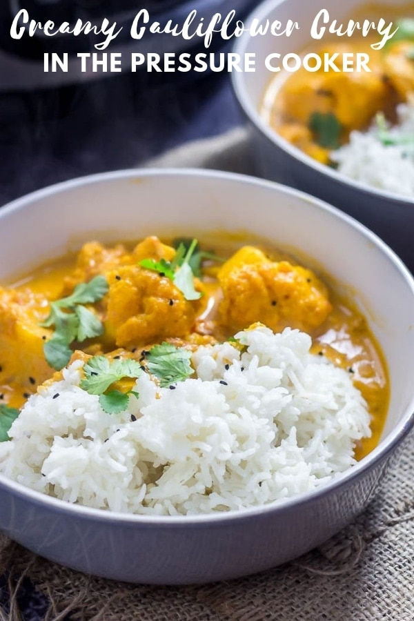 Pinterest image for creamy cauliflower curry with text overlay