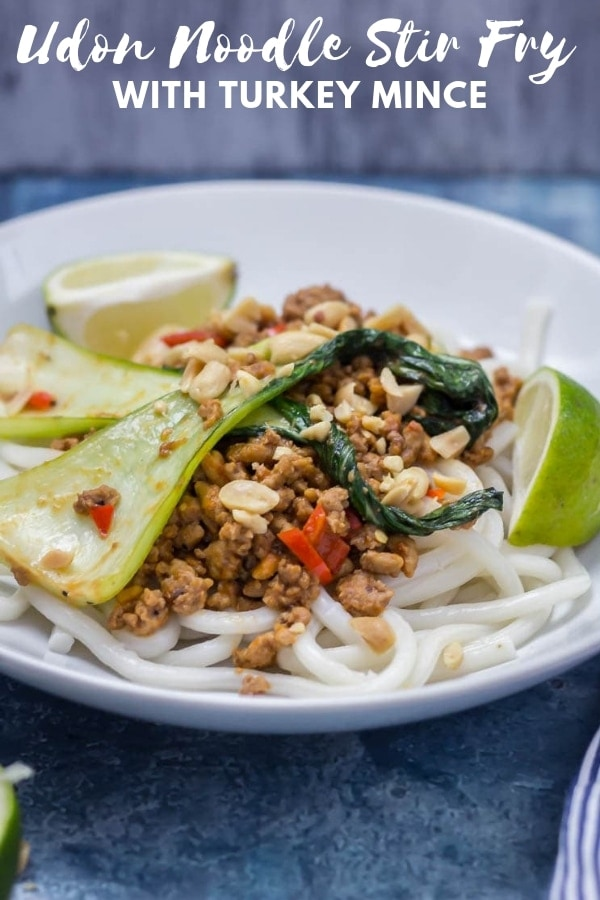 Pinterest image for udon noodle stir fry with turkey mince with text overlay