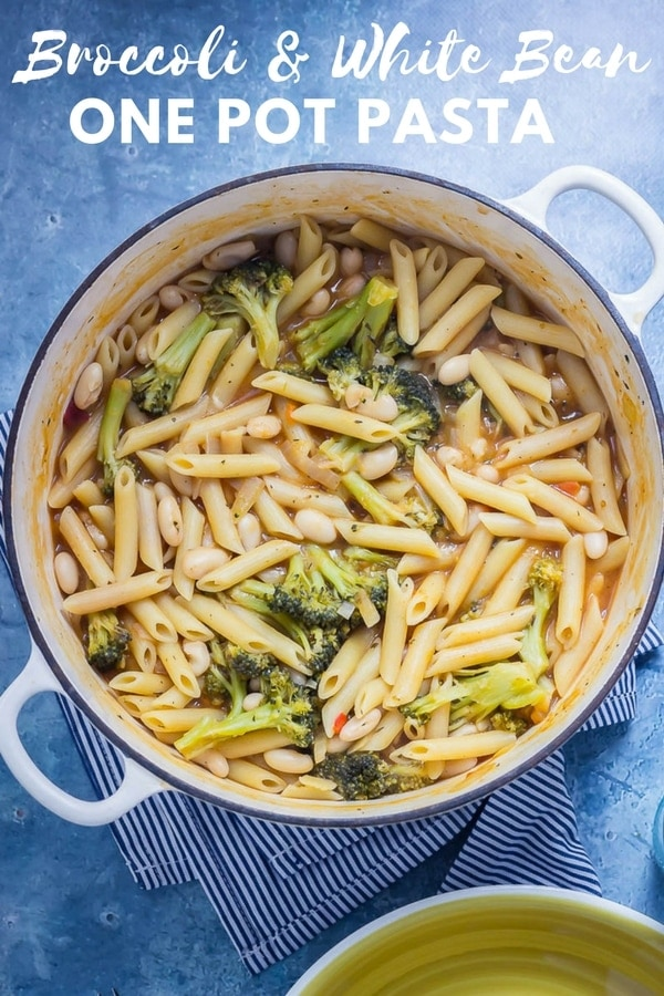 Simple one pot pastas are where it's at. This broccoliand white bean one pot pasta takes just a handful of store cupboard ingredients to make a delicious weeknight dinner. #onepotpasta #broccoli #whitebeans #recipe #thecookreport #pasta #pastarecipe