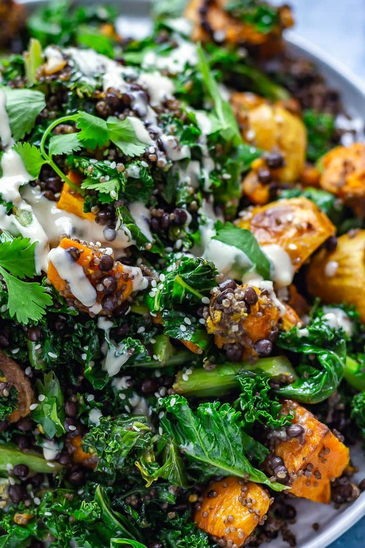 Close up of Sweet Potato and Quinoa Salad with Sesame Dressing