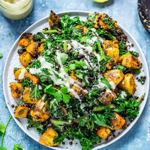 Overhead shot of Sweet Potato and Quinoa Salad with Sesame Dressing
