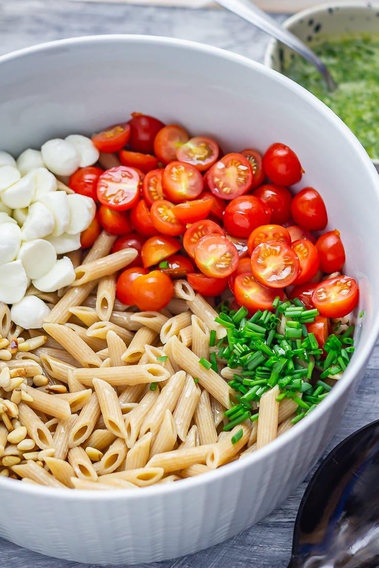 Ingredients for caprese pasta salad