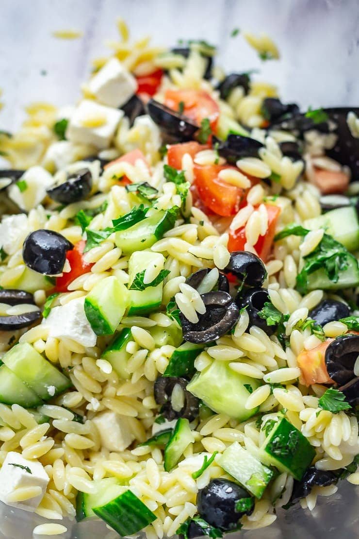 Close up of Greek Orzo Salad with Lemon Dressing