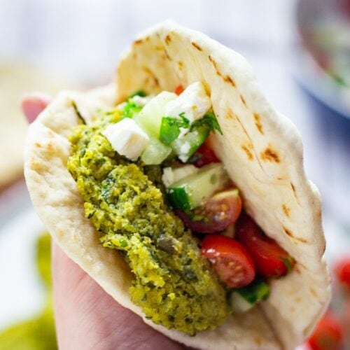 Chickpea Recipes: Baked falafel in a flatbread with cucumber, tomato and feta