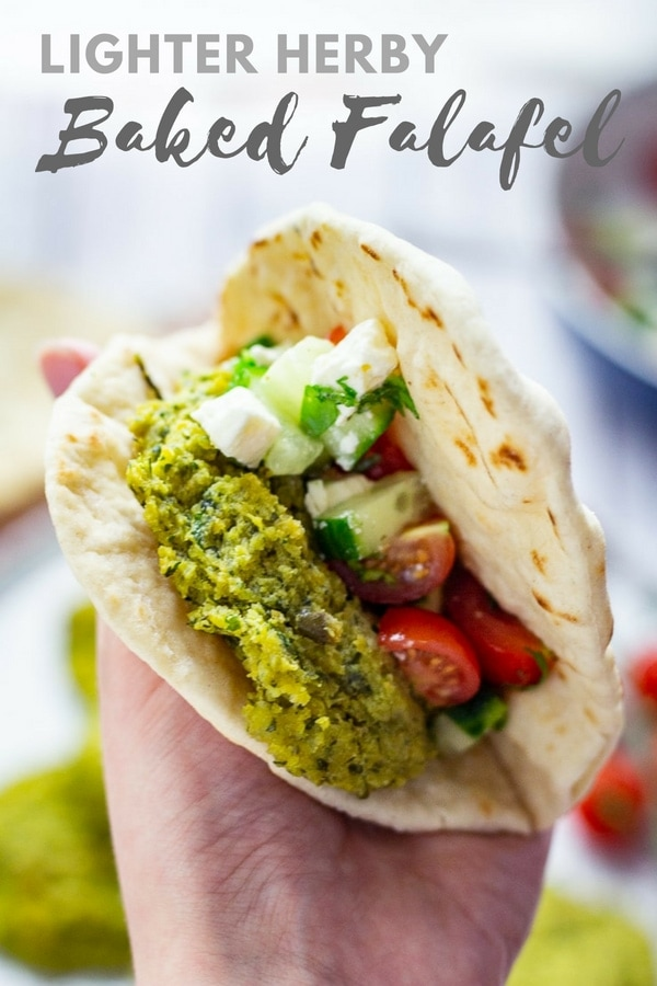 Baked falafel is a perfect vegetarian meal and it's light and healthy as well! Serve with flatbread and some cucumber and tomato for added crunch. #falafel #vegetarian #vegan #healthy #thecookreport