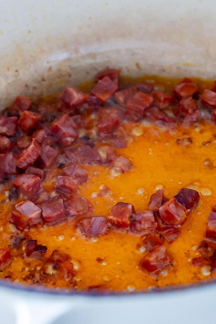 Chorizo frying for breakfast tacos