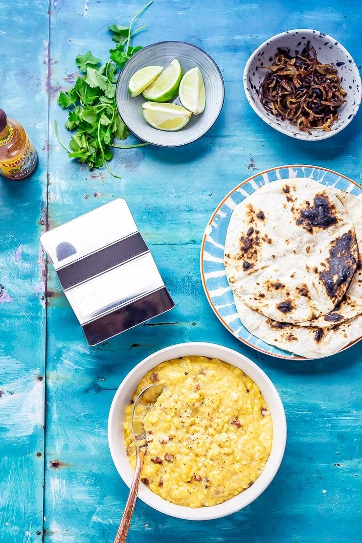 Overhead shot of ingredients for breakfast tacos