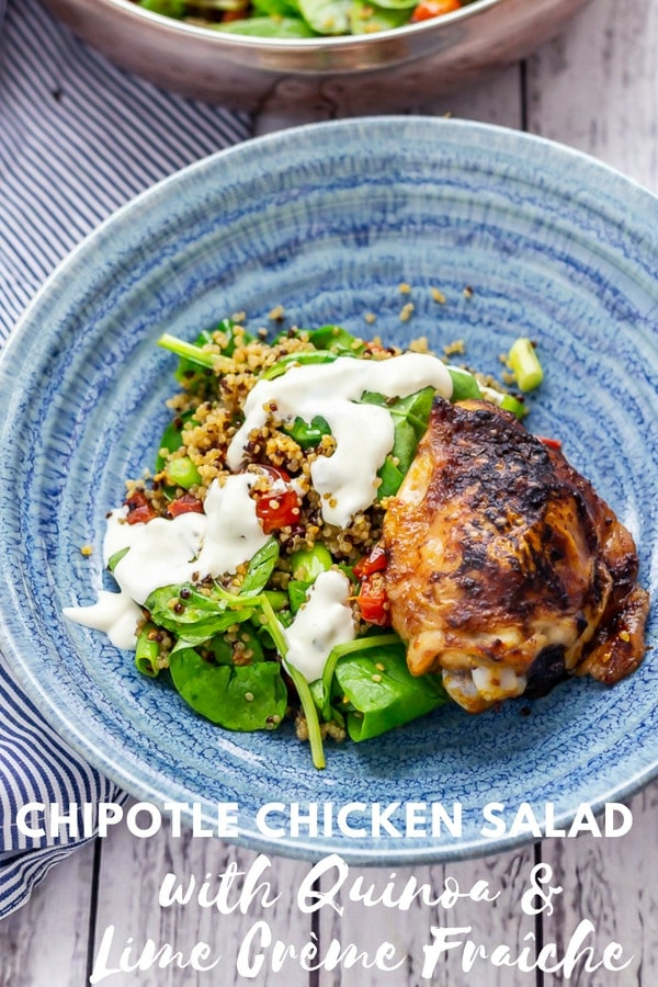 Pinterest image for chipotle chicken salad with text overlay