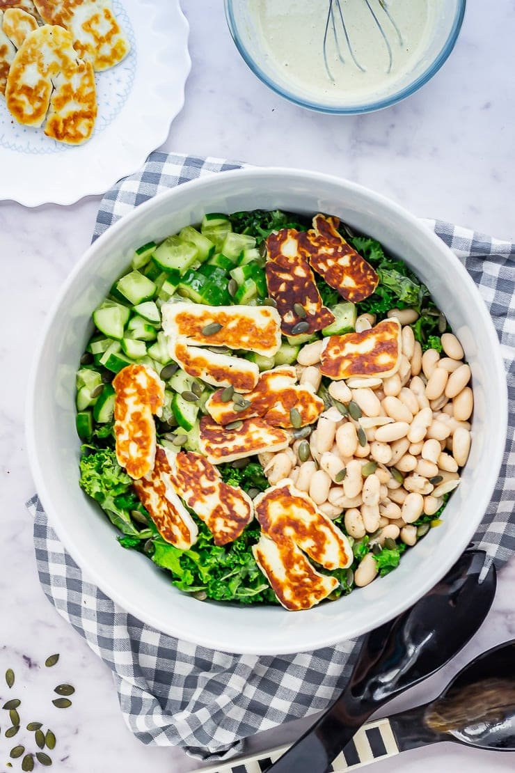 Halloumi Salad with Kale