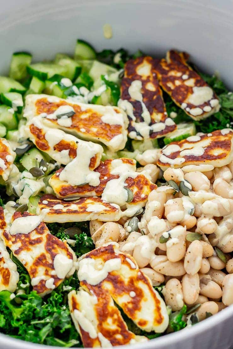 Close up of halloumi salad with kale