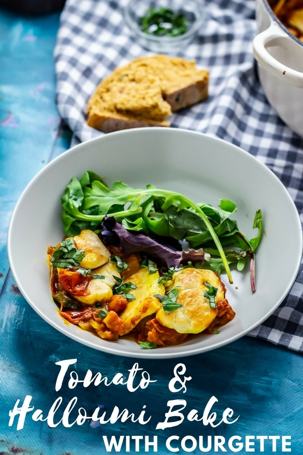 Pinterest image for tomato and halloumi bake with text overlay