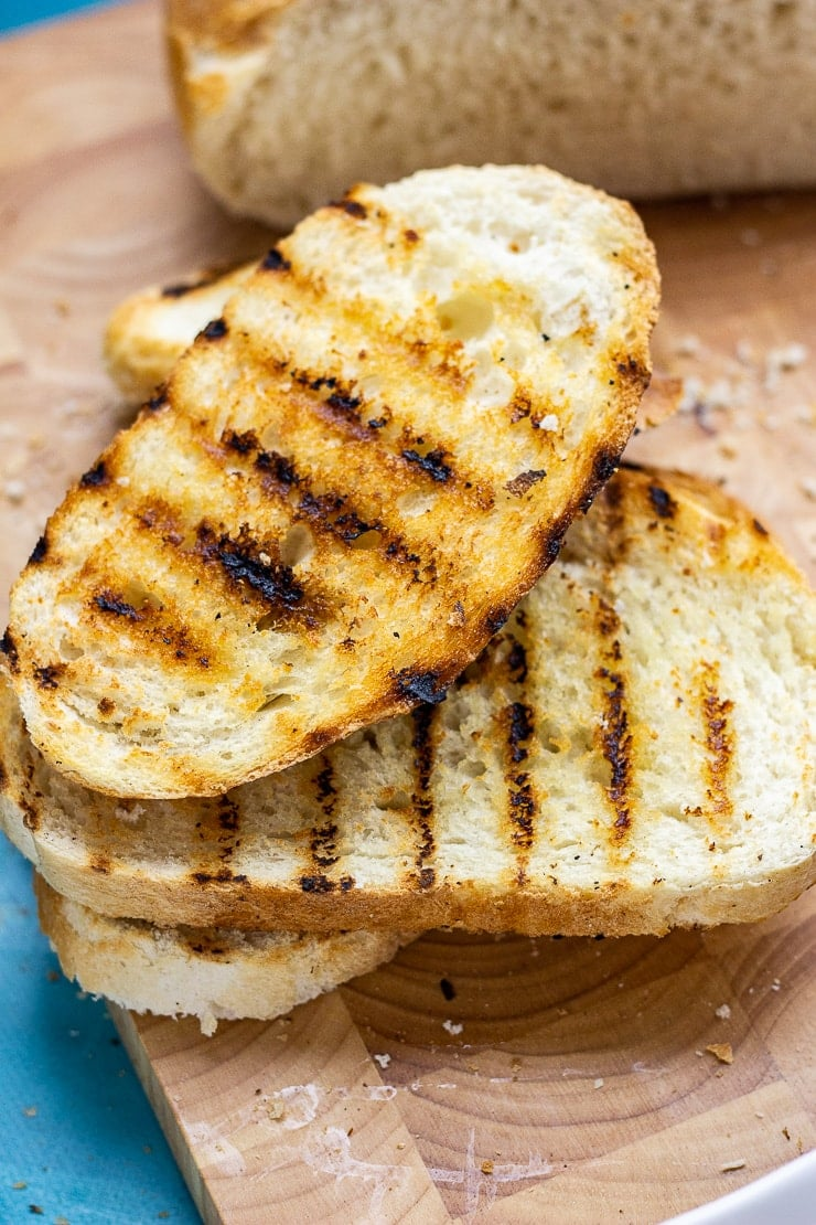 Grilled toast on a wooden board