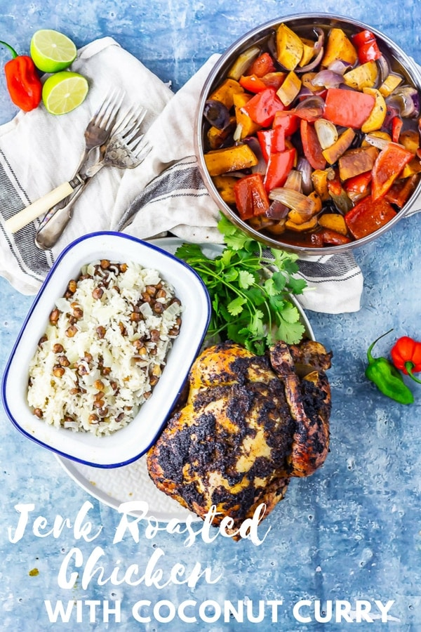This jerk roasted chicken is coated in jerk spice paste before roasting over chopped vegetables. Serve with a rich and tasty curry sauce made with the cooking juices! #roastchicken #jerkchicken #chickenrecipe #thecookreport
