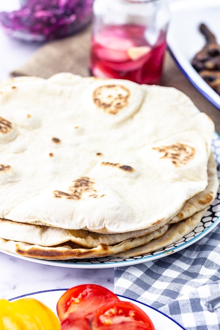 Flatbreads for mushroom wraps with a checked cloth