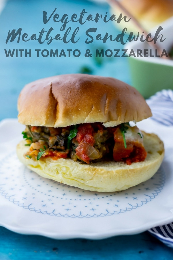 These cheesy vegetarian meatball sandwiches are so full of flavour and make the perfect weeknight meal. Serve topped with a drizzle of truffle oil for a little extra indulgence! #meatballsandwich #vegetarianmeatball #aubergine #eggplant #vegetarian #thecookreport