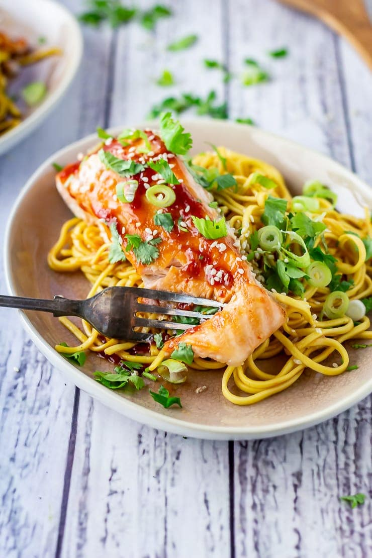 Oven cooked salmon with tomato garlic sauce on a plate with a fork