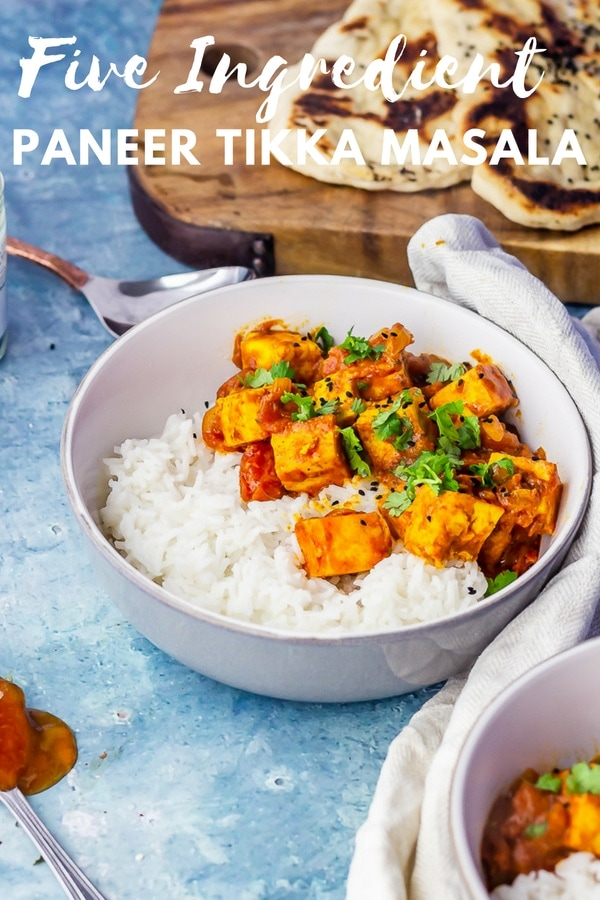 Pinterest image for paneer tikka masala with text overlay