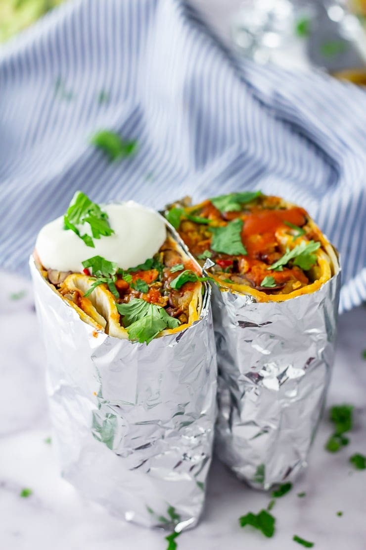 Vegetarian breakfast burrito wrapped in foil