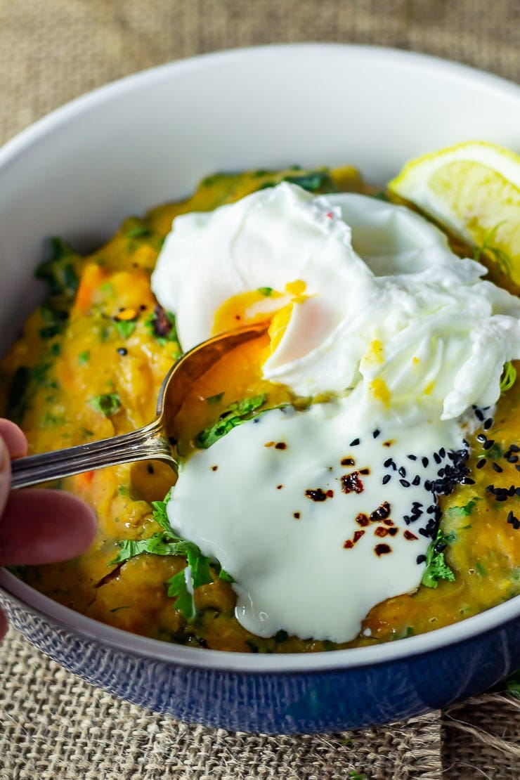 Smoky lentil stew topped with a poached egg
