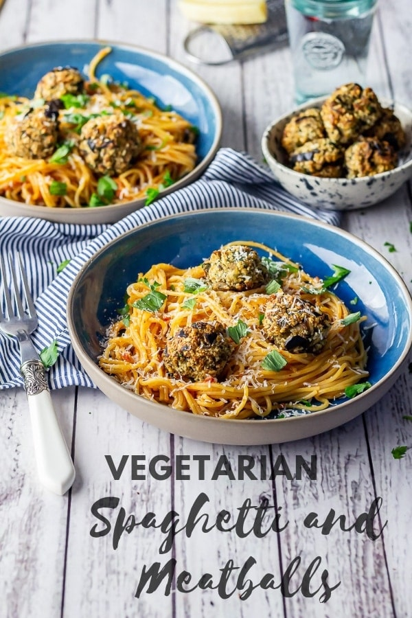 Pinterest image for vegetarian spaghetti and meatballs with text overlay