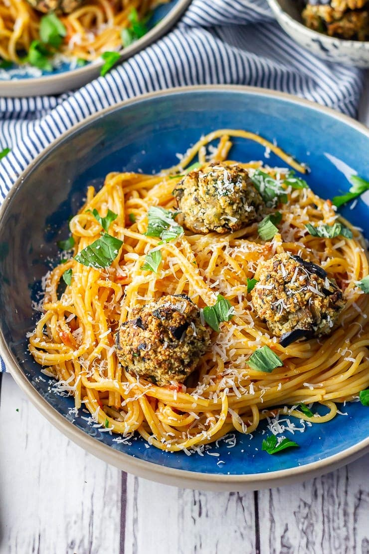 Vegetarian spaghetti and meatballs in a blue bowl