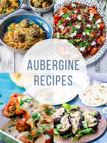 Combined image of aubergine recipes with text overlay