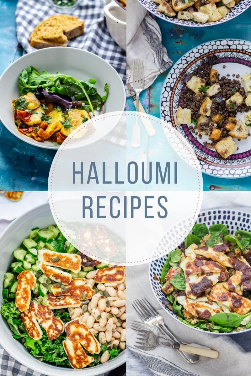 Combined image of halloumi recipes with text overlay