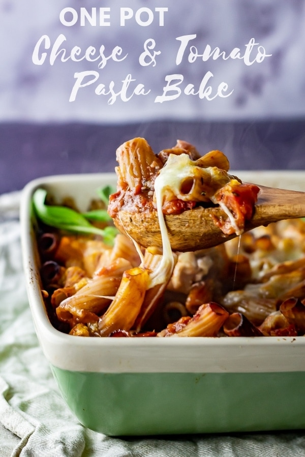 Pinterest image for cheese and tomato pasta bake with text overlay