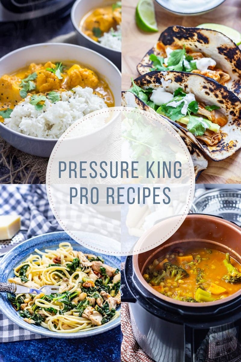 Combined image of pressure king pro recipes with text overlay