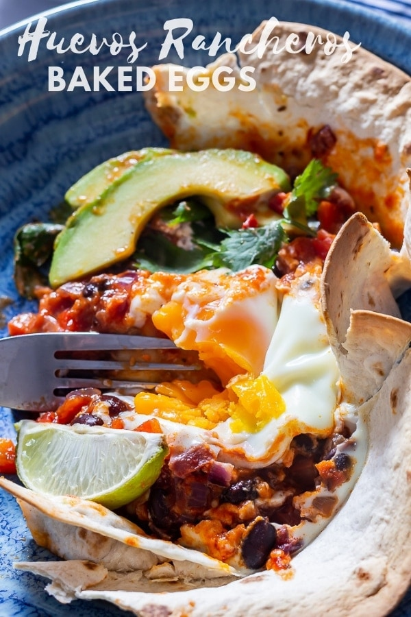 Pinterest image for huevos rancheros baked eggs with text overlay