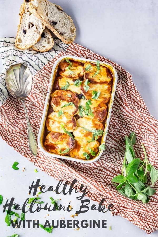 Pinterest image for halloumi bake with aubergine with text overlay