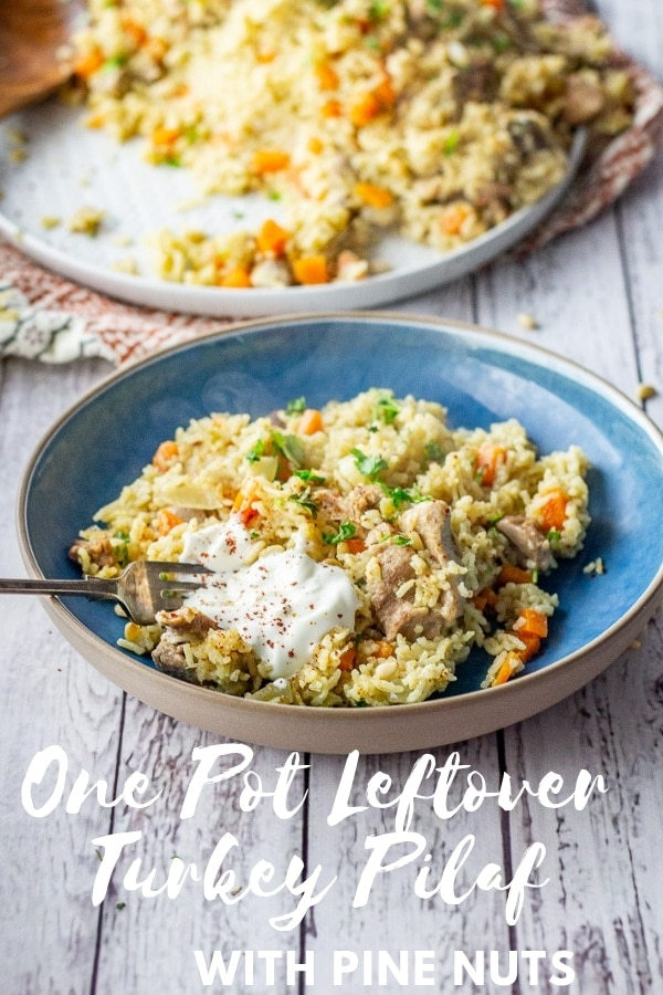 Pinterest image for one pot leftover turkey pilaf with text overlay