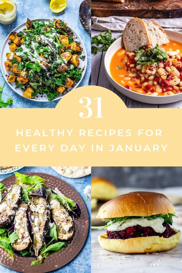 Pinterest graphic for healthy dinner recipes to make in Jan