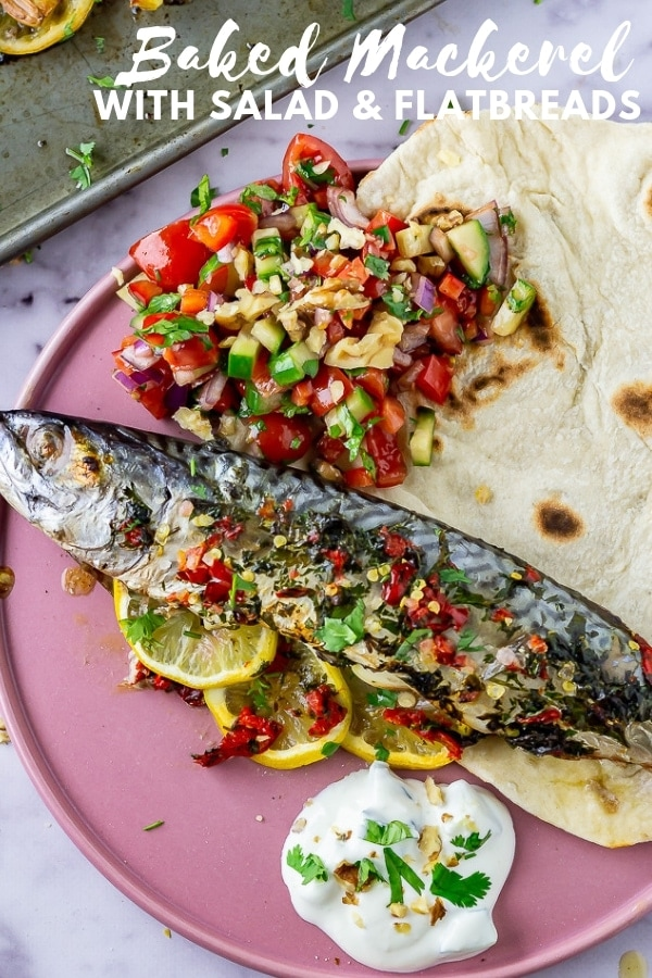 Pinterest image of baked mackerel with text overlay