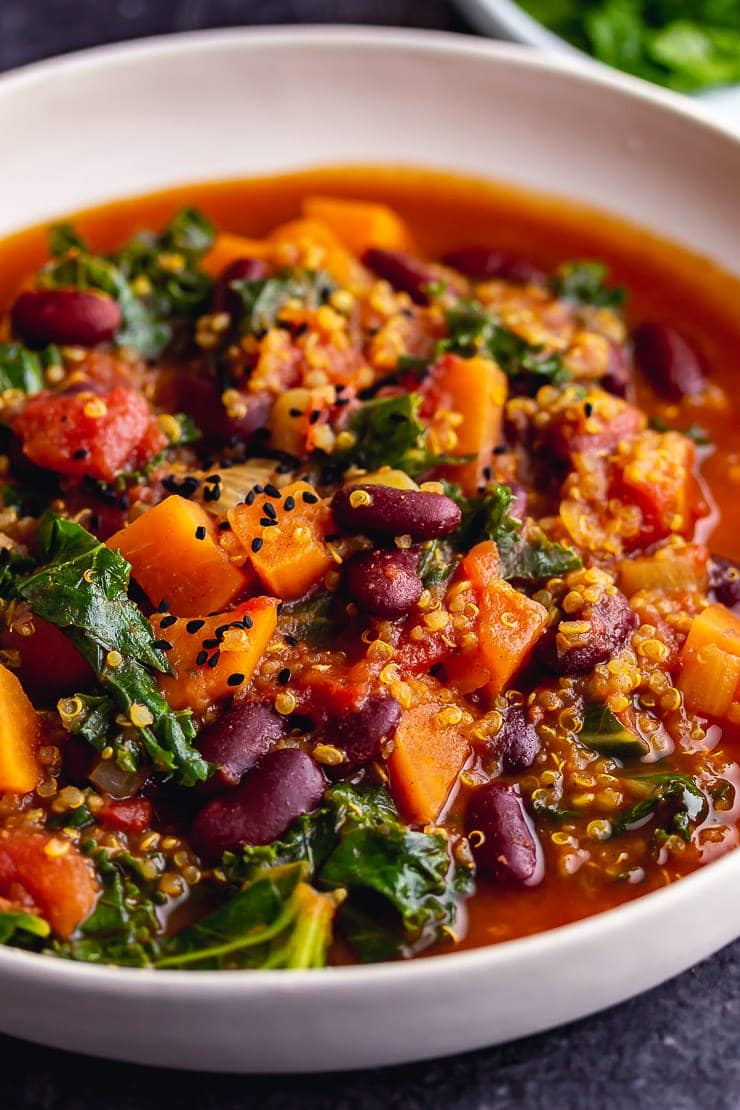 Close up of vegan stew with sweet potato and beans