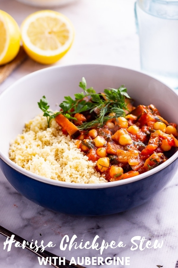 Pinterest image for harissa chickpea stew with text overlay
