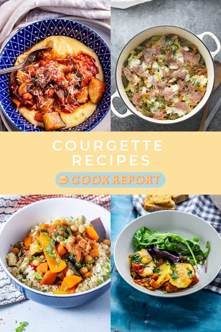 Pinterest image for courgette recipes collection with text overlay
