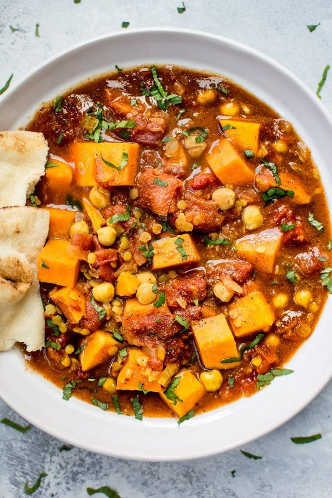 Overhead shot of sweet potato curry for vegan comfort food round up