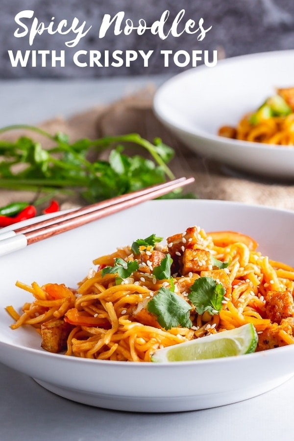 Pinterest image for spicy noodles with crispy tofu with text overlay