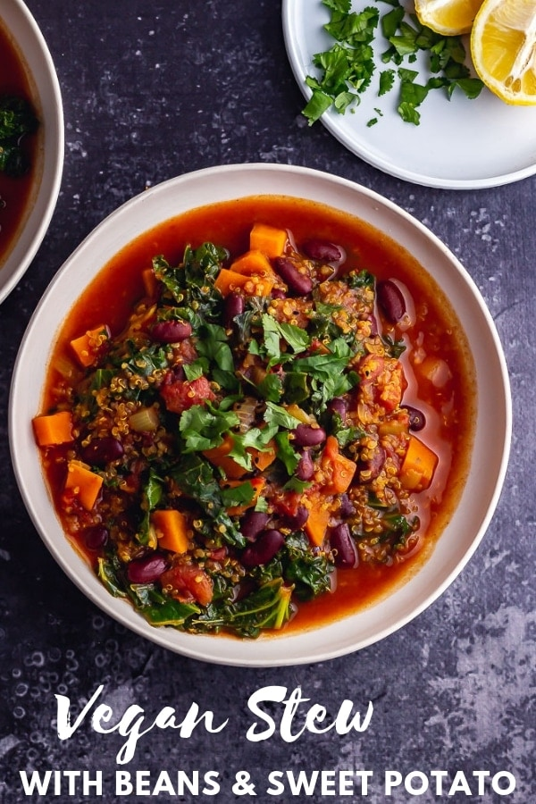 Pinterest image for vegan stew with text overlay