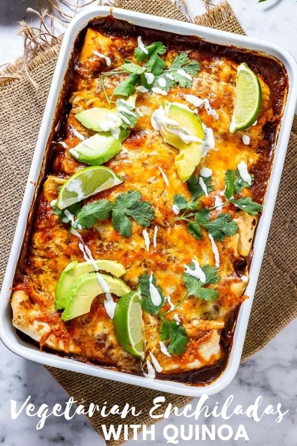Pinterest image for vegetarian enchiladas with text overlay