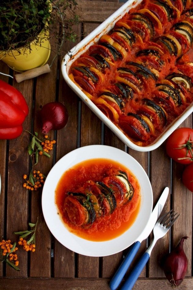 Ratatouille on a wooden background