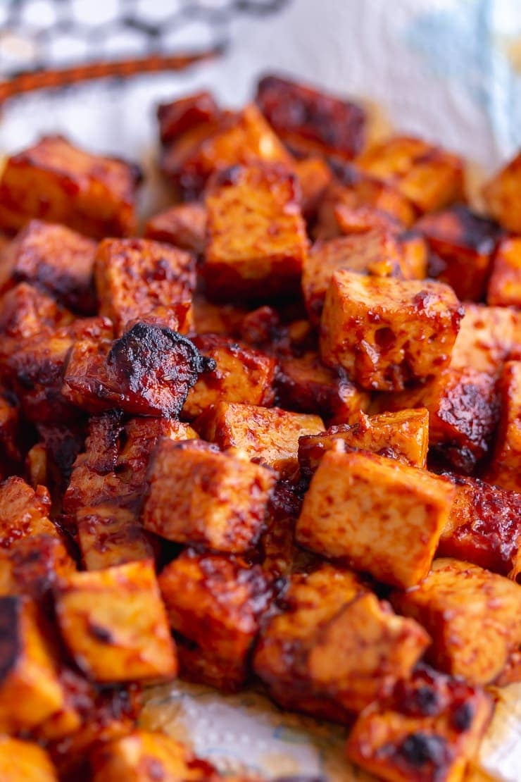 Close up of Korean marinated tofu