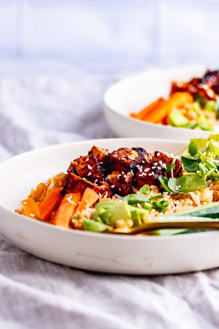 Side on shot of spicy rice bowl with a gold fork