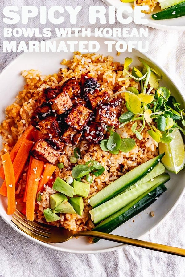 Pinterest image for spicy rice bowls with text overlay