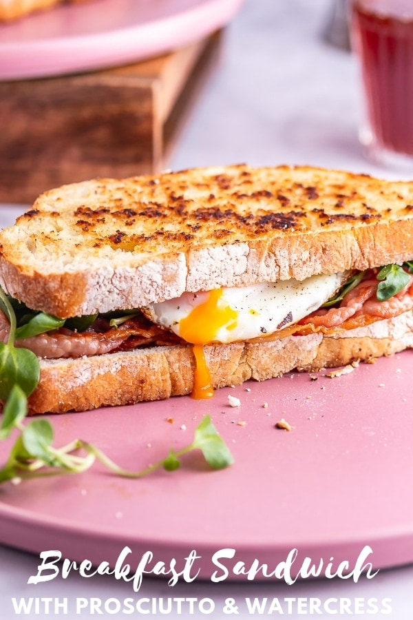 Pinterest image for breakfast sandwich with text overlay