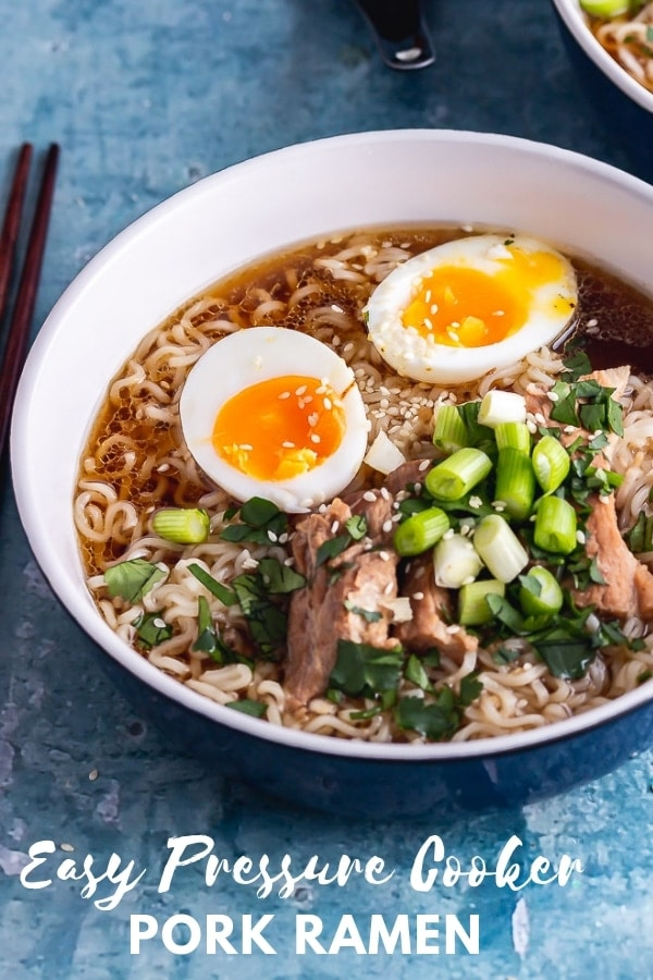 Pinterest image for pork ramen with text overlay