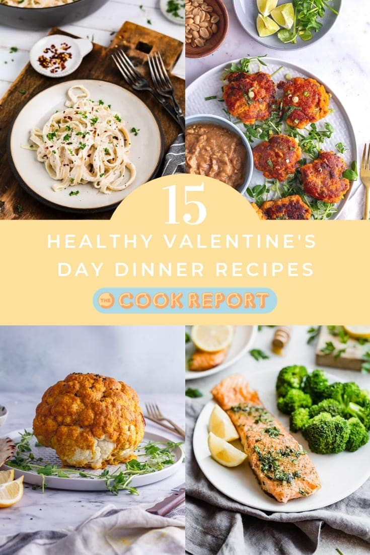 Pinterest image for Healthy Valentine's Day Dinner Recipes round up with text overlay