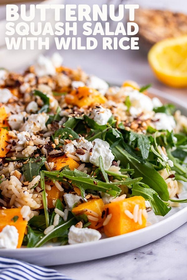 Pinterest image for butternut squash salad with text overlay